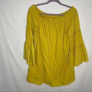 Umgee mustard large bell sleeve boho blouse